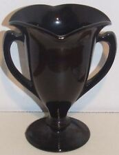 Black Trophy Shaped Vase With Handle on Each Side