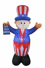 PATRIOTIC INFLATABLE UNCLE SAM AMERICAN FLAG 4TH OF JULY AIR BLOWN DECORATION