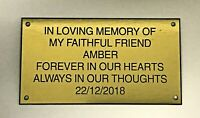 Pet Memorial Personalised Brass Plaque Engraved Dog Cat Grave large
