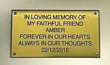 Pet Memorial Personalised Brass Effect Plaque Engraved Dog Cat Grave 10 X 6cm