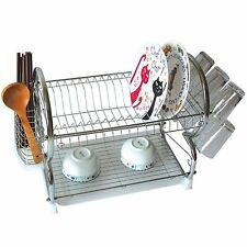 Chrome Dish Drainer Rack Drip Dry Washing Up Plate Drying Tidy Stacking