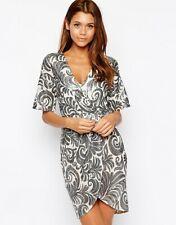TFNC Wrap Dress In Sequin Leaf Size UK 12