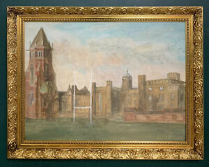 Large Mid Century Impressionist Oil On Board Painting In Gold Gilt Style Frame
