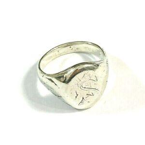 Antiker Herrenring 800er Silber Gravur MS Größe 55,5 Siegelring kleiner Finger