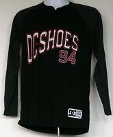 DC Shoes Black/Gray L/S Raglan Henley Baseball Style Shirt M