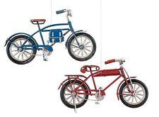 """GALLERIE II SET OF 2 METAL CRAFT 6.50"""" VINTAGE BIKE BICYCLE CHRISTMAS ORNAMENTS"""