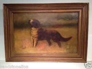 Antique 19TH Century ITALIAN St.Bernard Dog Signed 'A.MOLLICA'  Oil Painting