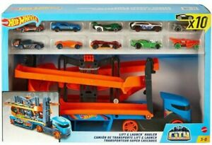 Hot Wheels Lift and Launch Hauler With 10 Cars Play Set MATTEL