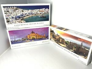 3x 504 Piece Jigsaw Puzzle Flinders St VIC  Ken Duncan Leisurewise Sicily Greece