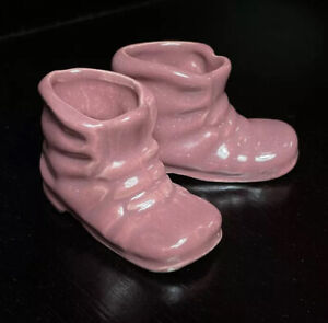 Vtg Pair LIMOGES Miniature Pink Baby Bootie Shoe Figurines H.A. BALLEROY