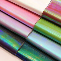 Holographic Snakeskin Pattern PU Faux Leather Fabric Vinyl Bag Craft Roll Sheets