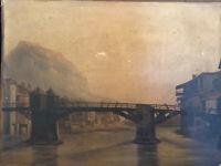 Le vieux pont de bois sur l'Isère à Grenoble Huile sur Papier Marouflé sur Toile