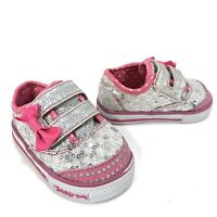 Skechers Twinkle Toes Girls Sneakers Toddler Sequin Silver White Pink Bow Size 2