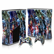 XBOX 360 Slim Skin Sticker Decal Cover + 2 Controllers MARVEL AVENGERS COMICS