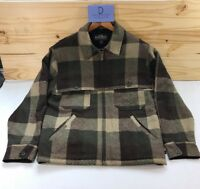 Woolrich Men's Wool Zip Up Barn Hunting Jacket Olive Buffalo Lined Size M
