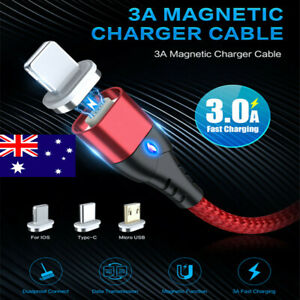 Magnetic Micro USB Type C iOS 3in1 Sync Cable For iPhone Samsung 3A Fast Charger