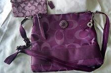 COACH Purple Stripe File Cross Body Bag & Purple Canvas Wristlet