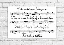 Ed Sheeran - Thinking Out Loud - Song Sheet Art Poster - A4 Size