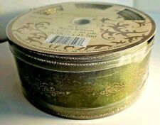 """One (1) Roll Wired Green w/Gold Sheer Holiday DESIGNER RIBBON 50 yds x 2.5"""" -NEW"""