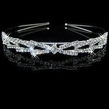 Silver Plated Crystal Wedding Bridal Headband Tiara Hair Band Diamante DFK1001