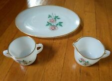 Fire King Anniversary Rose Oval Platter + Cream + Sugar NEVER USED EXCELLENT
