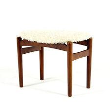 Rétro Vintage Danois acajou laine Repose-pieds fauteuil ottoman 50 s 60 s 70 s teck