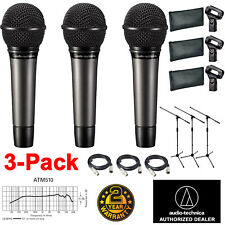 3x Audio-Technica ATM510 Dynamic Vocal Mic w/ 20ft XLR Cables and a Mic Stands