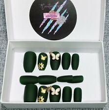 Handmade nails Large-set. Short coffin shape includes application kit.