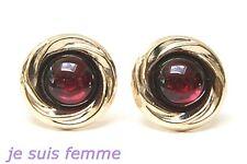 Boucles d/'oreilles OR JAUNEMASSIF   GRENAT Véritable  6 x 4 mm 8k 3613