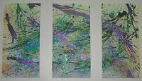 """Original Triptych Acrylic On Canvas Abstract Design 24"""" x 36"""" Signed Toffer"""