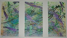 "Original Triptych Acrylic On Canvas Abstract Design 24"" x 36"" Signed Toffer"