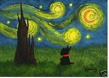 SCOTTIE Scotty Terrier Dog Folk Art PRINT Todd Young painting UNDER A STARRY SKY