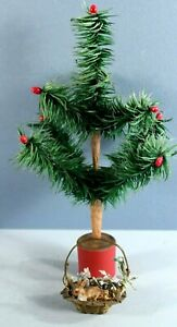 Old German Christmas Ornament Miniature Brass Basket Bisque Bunny Feather Tree