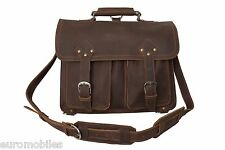 "NEW CRAZY HORSE GENUINE LEATHER BRIEFCASE BAG 16"" SATCHEL BACKPACK VINTAGE RETRO"