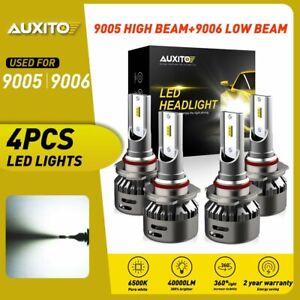 4X AUXITO 9005 9006 LED Headlight Kit Combo Bulb 6500K High Low Beam Super White