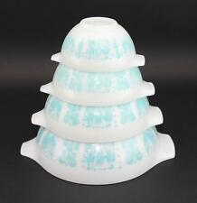 SET OF 4 PYREX WHITE TURQUOISE AMISH BUTTERPRINT CINDERELLA MIXING NESTING BOWLS
