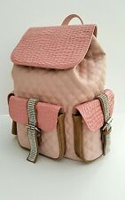 BNWT PINK FAUX LEATHER DIAMANTÉ CRYSTAL BACKPACK RUCKSACK  DUFFLE BAG RRP £85