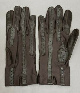 Vintage Isotoner Gloves Womens One Size brown Spandex/Leather Strips No lining