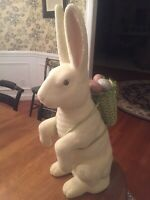 "RARE BETHANY LOWE Easter Bunny Basket/Eggs EUC  24.5"" TALL HEAVY"