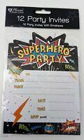 INVITATIONS SUPER HERO pk 12 PARTY INVITE CARDS birthday girl boy kids+ envelope