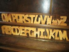 "Vintage Wooden 26 Alphabetic Letters Stained 3"" Tall 3/4"" Thick Stand Up"
