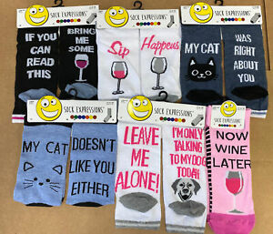 NWT Lot F of 6 Pair SOCK EXPRESSIONS Ladies SIZE 4-10 Wine Cat Dog Assorted