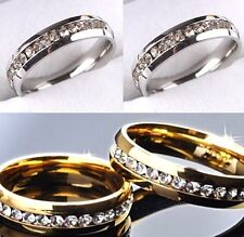 50pcs Comfort fit Silver Gold Zircon stainless steel CZ Wedding rings  job lot