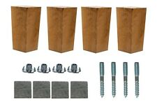 4x Wooden Furniture Tapered Feet Legs Sand Oak Beech For Sofa Chest Stool 4''