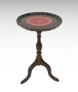 Antique reproduction pie crust wine table - red leather top #2276
