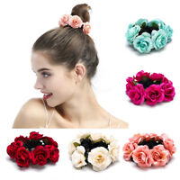 CO_ KF_ Women Fashion Rose Flower Elastic Hair Tie Rope Ponytail Holder Decor Ra