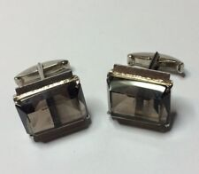 Vintage Men's Smokey Quartz Solid Sterling Silver Cufflinks