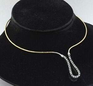Heavy 18K 2-tone gold 1.50CT VS diamond formal choker necklace
