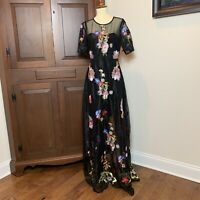 NWT L'Atiste by Amy Size Medium Floral Embroidered Black Mesh Dress