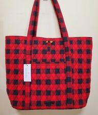"NWT $119 Vera Bradley "" Vera ""  in Tango Red Buffalo Check large Plaid Tote Bag"